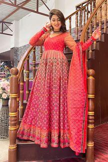 Picture of Partywear Designer Reddish Pink Colored Chanderi Silk Suit