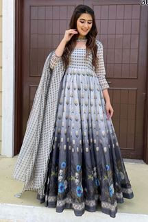 Picture of Partywear Designer Grey Colored Chanderi Silk Suit