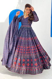 Picture of Partywear Designer Blue Colored Chanderi Silk Suit