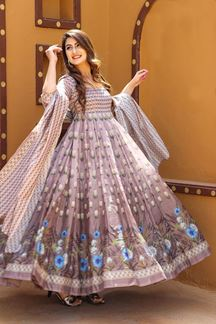 Picture of Partywear Designer Pastel Pink Colored Chanderi Silk Suit