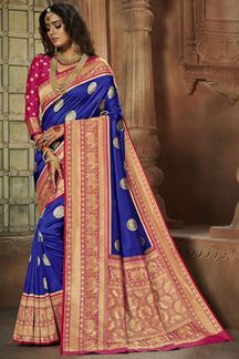 Picture of Classic Blue & Pink Colored Weaving Silk Saree