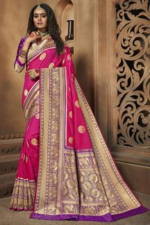 Picture of Stunning Pink & Purple Colored Weaving Silk Saree