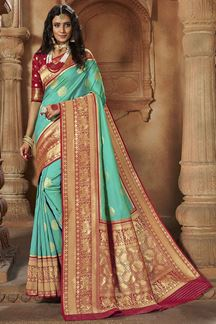 Picture of Lovely Blue & Red Colored Weaving Silk Saree