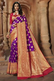 Picture of Trendy Purple & Red Colored Weaving Silk Saree