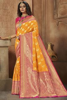 Picture of Stunning Mustard Yellow & Pink Colored Weaving Silk Saree