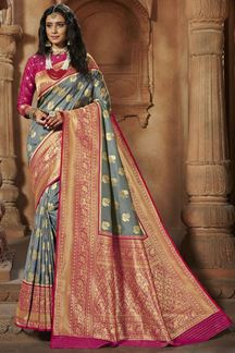 Picture of Blooming Grey & Pink Colored Weaving Silk Saree