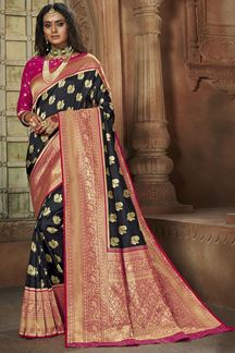 Picture of Black & Pink Colored Weaving Silk Saree