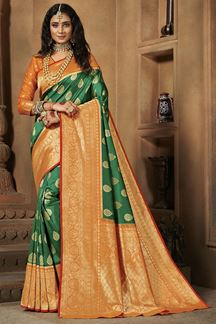 Picture of Flaunt Green & Orange Colored Weaving Silk Saree