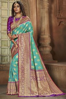 Picture of Flirty Blue & Purple Colored Weaving Silk Saree