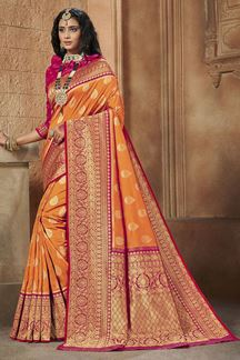 Picture of Orange & Pink Colored Weaving Silk Saree