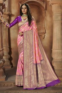 Picture of Light Pink & Purple Colored Weaving Silk Saree