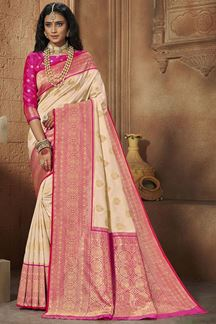 Picture of Cream & Pink Colored Weaving Silk Saree
