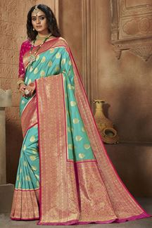 Picture of Blue & Pink Colored Weaving Silk Saree