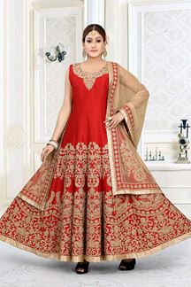 Picture of Flaunting Red Colored Art Silk Designer Floor length Suit