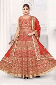 Picture of Adorable Red Colored Art Silk Designer Floor length Suit