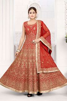 Picture of Breathtaking Red Colored Art Silk Designer Floor length Suit