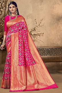 Picture of Amazing Pink Colored Festive Wear Silk Saree
