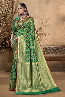 Picture of Outstanding Green Colored Festive Wear Silk Saree