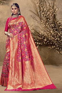 Picture of Glamorous Pink Colored Festive Wear Silk Saree