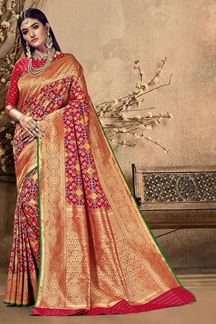 Picture of Lovely Red Colored Festive Wear Silk Saree