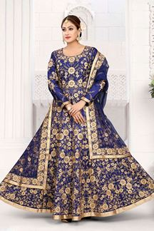 Picture of Fashionable Navy Blue Colored Art Silk Designer Floor length Suit