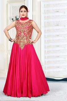 Picture of Engrossing Pink Colored Art Silk Designer Floor length Suit