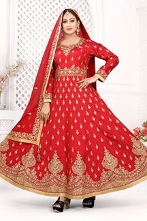 Picture of Enchanting Red Colored Art Silk Designer Floor length Suit