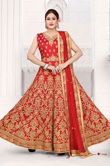 Picture of Outstanding Red Colored Art Silk Designer Floor length Suit