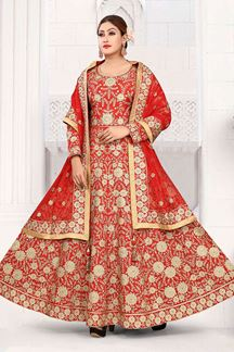Picture of Engrossing Red Colored Art Silk Designer Floor length Suit