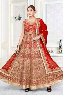 Picture of Red Colored Art Silk Designer Floor length Suit