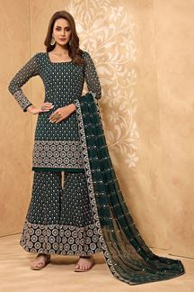Picture of Classy Bottle Green Colored Designer Palazzo Suit (Unstitched suit)
