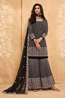 Picture of Beautified Black & Dark Brown Colored Designer Palazzo Suit (Unstitched suit)