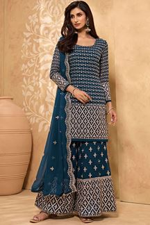 Picture of Classical Teal Blue Colored Designer Palazzo Suit (Unstitched suit)