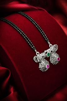 Picture of Classic Silver Oxidized Imitation Mangalsutra