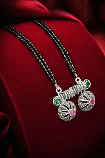Picture of Pretty Silver Oxidized Imitation Mangalsutra