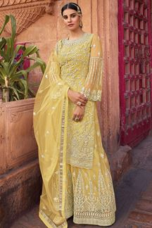 Picture of Breathtaking Yellow Colored Net Sharara Suit (Unstitched suit)