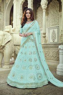 Picture of Designer Blue Colored Georgette Lehenga Choli