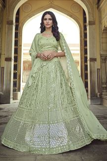 Picture of Designer Partywear Green Colored Georgette Lehenga Choli