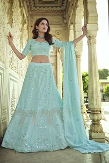 Picture of Charming Blue Colored Georgette Lehenga Choli