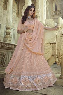 Picture of Amazing Peach Colored Designer Georgette Lehenga Choli