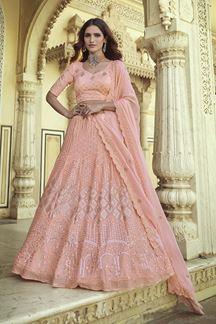 Picture of Impressive Pink Colored Designer Georgette Lehenga Choli