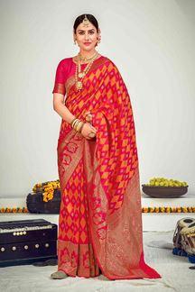 Picture of Rani Pink Colored Designer Party Wear Banarasi Silk Saree