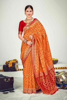 Picture of Orange Colored Designer Party Wear Banarasi Silk Saree