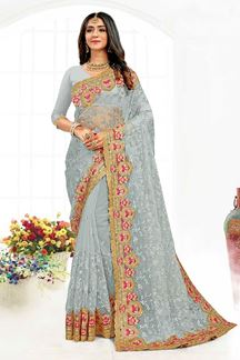 Picture of Sensational Grey Colored Designer Traditional Wear Net Saree
