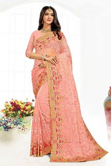 Picture of Magnetic Peach Colored Designer Traditional Wear Net Saree