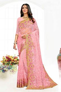 Picture of Alluring Pink Colored Designer Traditional Wear Net Saree