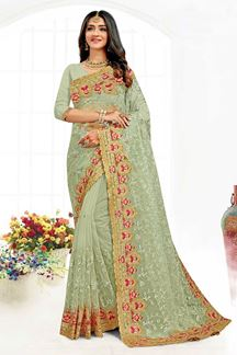 Picture of Demanding Dusty Pink Colored Designer Traditional Wear Net Saree