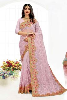 Picture of Fantastic Dusty Lavender Colored Designer Traditional Wear Net Saree