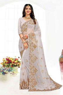 Picture of Blooming Grey Colored Designer Traditional Wear Net Saree