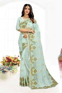 Picture of Blissful Sky Blue  Colored Designer Traditional Wear Net Saree